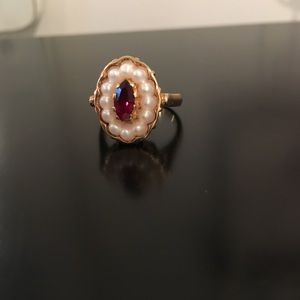 Vintage Pearl and Ruby Avon Ring